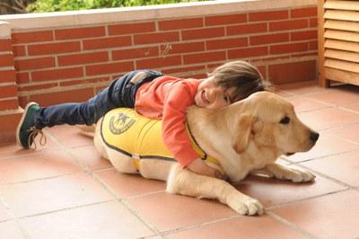 Un niño jugando con un futuro perro guía