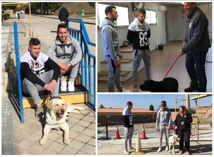 Momentos de la visita de los jugadores del Rayo Majadahonda a la FOPG