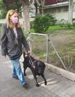 perro guía junto a su usuaria durante el estado de alarma