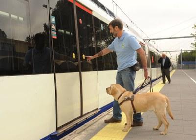 Un instructor entra en el metro con un perro en adiestramiento