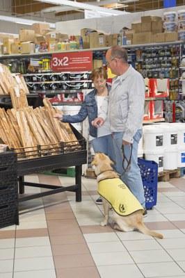 Una familia educadora compra en elsupermercado acompañada de su cachorro